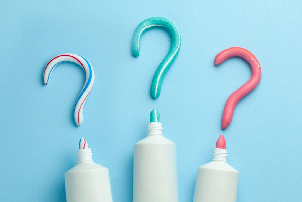 Three different toothpastes, as discussed in how to choose the right toothpaste by Summit Family & Cosmetic Dentistry